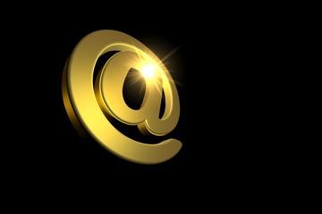 Email Symbol Gold mit Strahlen