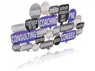nuage de mots bulles 3d : coaching