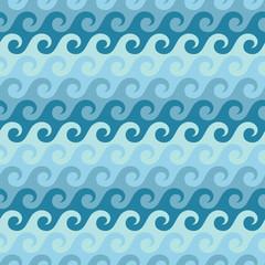 Seamless Pattern Waves Water Retro Blue