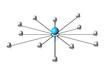 schematisches Netz mit blauem Zentrum