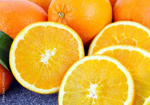 Fotobehang Plakjes fruit Frische Orangen