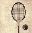 old tennis racket and ball