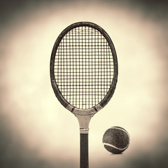 old vintage tennis racket