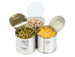 Corn and beans in metal tins
