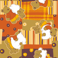 Cute teddy bears with patchwork  background  seamless pattern