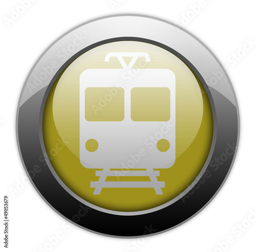 "Yellow Metallic Orb Button ""Train / Mass Transit"""