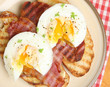Poached Eggs and Bacon on Toast