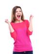 Winning success woman happy ecstatic celebrating being a winner