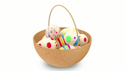 Animation of Painted Easter Eggs in a Basket.