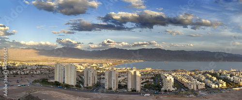 Panoramic view on Eilat from surrounding hills, Israel