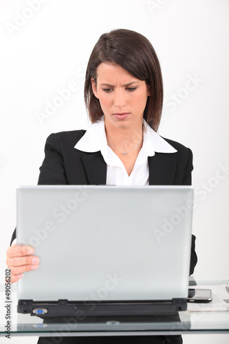 Brunette having technical issues with computer