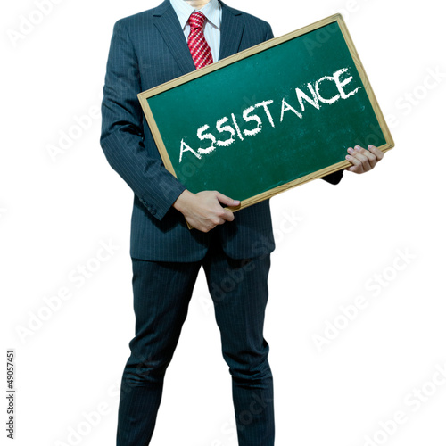 Business man holding board on the background, Quality