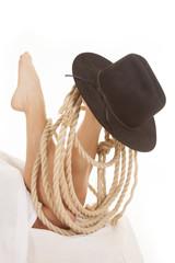 Woman legs sheet hat rope