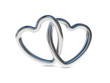 Intertwined silver heart rings