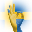hand OK sign with Swedish flag