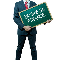 Business man holding board on the background, Business Finance
