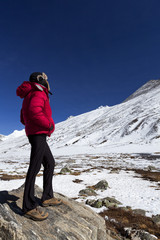 Woman enjoying view at Zero Point, North Sikkim.