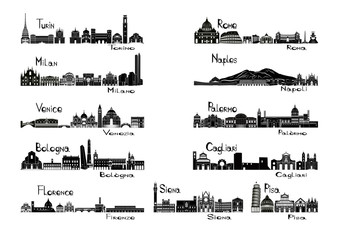 Silhouette sights of 11 cities of Italy