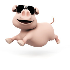 3d rendered illustration of a funny pig