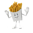 3d rendered illustration of a french fries character
