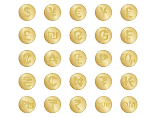 set of golden badges with some of currency signs