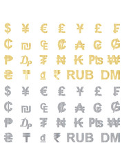 set of golden and metallic currency signs