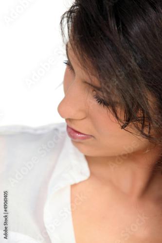 Woman glancing down