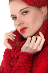 Attractive woman wearing hat and scarf