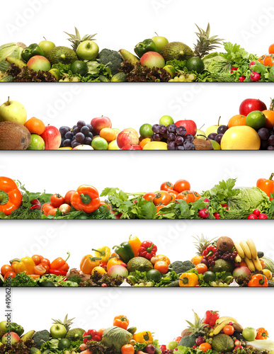 4 nutrition textures with fresh fruits and vegetables
