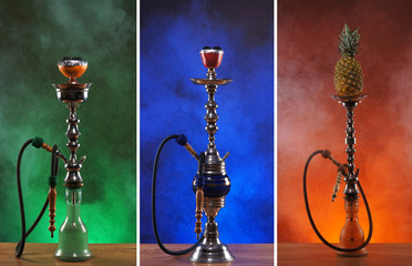 A collage of beautiful ceramic hookahs on different backgrounds