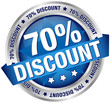 "Button Banner ""70% Discount"" blau/silber"