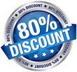 "Button Banner ""80% Discount"" blau/silber"
