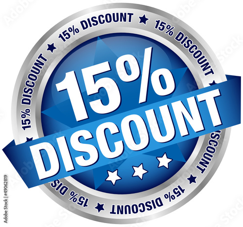 "Button Banner ""15% Discount"" blau/silber"