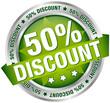 "Button Banner ""50% Discount"" grün/silber"