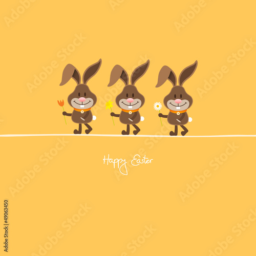 3 Bunnies Holding Spring Flowers Orange