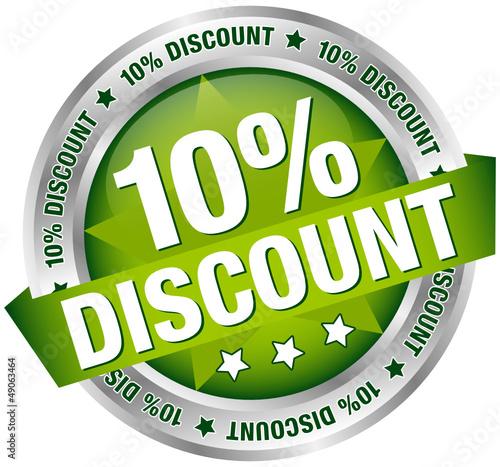 "Button Banner ""10% Discount"" grün/silber"