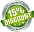 "Button Banner ""15% Discount"" grün/silber"