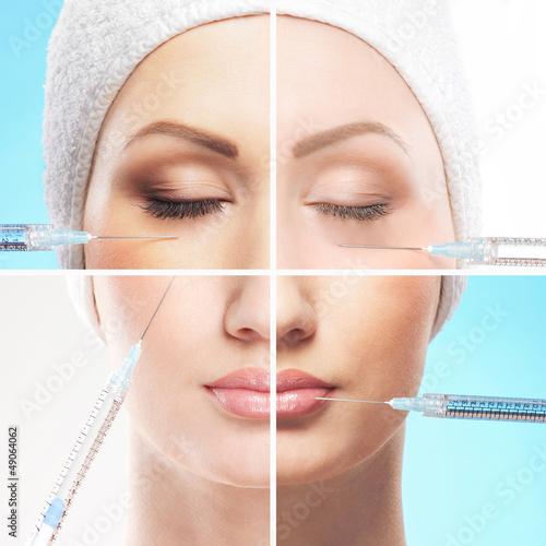 A collage of parts of a female face on a botox procedure