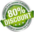 "Button Banner ""80% Discount"" grün/silber"