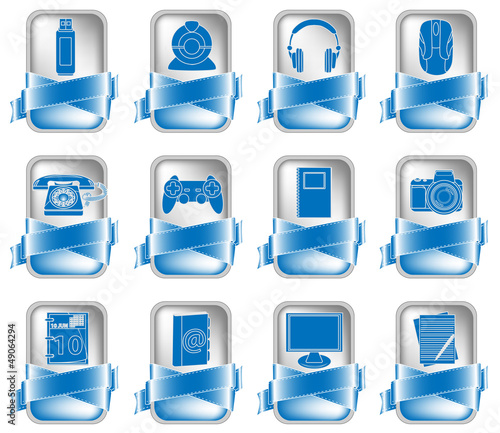 Blue Vector Icon Set