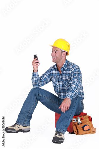 Worker receiving good news