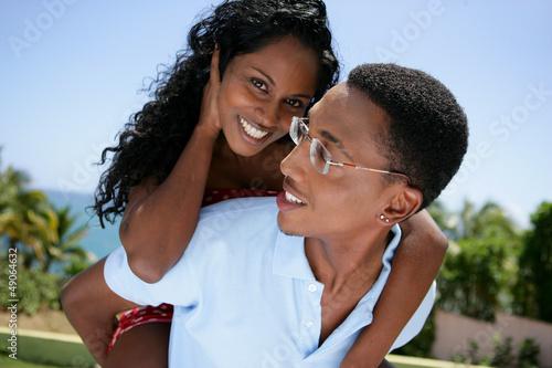 Loving couple in the sunshine