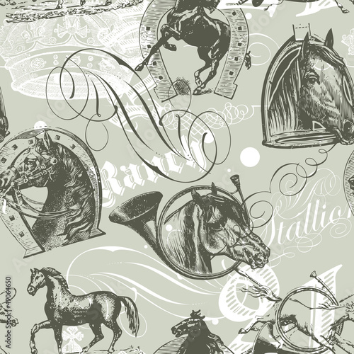 Wall mural Horses Seamless Pattern