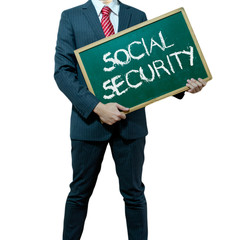 Business man holding board on the background, Social Security