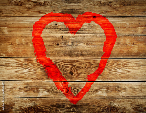 haert on wooden background - 49064852