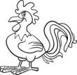 farm rooster cartoon for coloring book