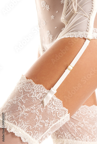 Close-up image of sexy female hips in white erotic lingerie