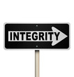 Integrity Word One-Way Street Road Sign