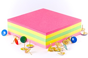 Tacks and colorful paper