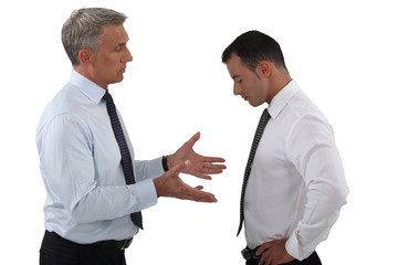 Boss and employee having a serious discussion